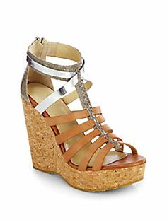 76bba1629b2 Jimmy Choo - Pierce Leather   Snakeskin Cork Wedge Sandals Shop at Saks  Fifth Avenue at