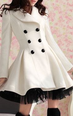 Double-breasted Beam Waist Voile Stitching Plicated Ruffles Long Edition Worsted Color Matching Coat