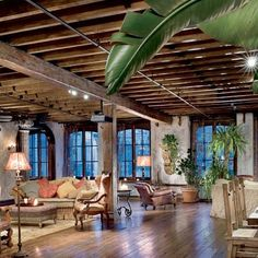 New York Loft Design .Celebrity Loft Space. Open Living Design. Rustic Exposed Beams. Gerard Butler's NY loft.  A Dream Home Design.