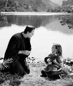 "Boris Karloff & Marilyn Harris - ""Frankenstein"", 1931.  just before he throws her into the lake lol"