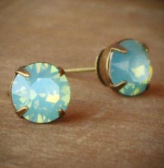 Seafoam Green Opal Rhinestone Stud Earrings Mint....excuse me while I close my mouth....mine mine mine