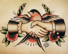 Seemann Handshake traditionelle Tattoo Flash von ParlorTattooPrints