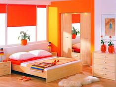 Orange Bedroom Color Ideas With Light Wooden Flooring And Furniture Decolover Bright