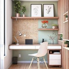 15 Home Offices to Inspire Your Creativity - Wonder Forest Bedroom Office Combo, Office Nook, Home Office Space, Home Office Desks, Office Furniture, Office Decor, Office Ideas, Office Setup, Pipe Furniture