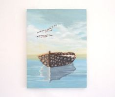 Fishing Boat & Seagulls in Seashell Mosaic, Painting of Boat in calm Sea with Seagulls for Coastal Home Decor, Mosaic Art Boat & Seagulls.  Created on a box canvas and includes the sides to enhance the 3-Dimensional effect. Dimensions: 16 High x 12 Wide x 0.7 Deep (40cms x 30cms x 20mm) Weight; Pictures Of Insects, Seahorse Art, Sea Life Art, Turquoise Glass, Beach Scenes, Beach House Decor, Mosaic Art, Fishing Boats, Art For Sale