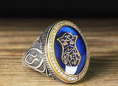 925 K Sterling Silver Man Ring Blue No Stone 11 US Size B20-64973 #istanbul #Cluster