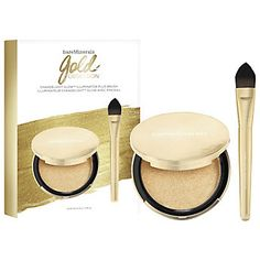 Glow this holiday with Gold Obsession makeup set from bareMinerals. Includes our gel cream to powder Illuminator in the shade of Chandelight Glow and our Complexion Perfector Brush. Eyebrow Makeup, Face Makeup, Glow, Makeup Gift Sets, Highlighter Makeup, Bare Minerals, Clean Beauty, Brush Set, Fragrance