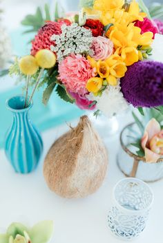 Bright, vibrant, pastel tropical wedding flowers. Click for the most absolutely gorgeous Tropical Wedding ideas ever! http://www.confettidaydreams.com/tropical-wedding-ideas/
