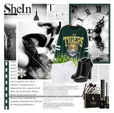 SheIn Green Print Loose Sweatshirt by mxlucyxw on Polyvore featuring Ally Fashion, Giuseppe Zanotti, Borghese, Chanel and Ralph Lauren