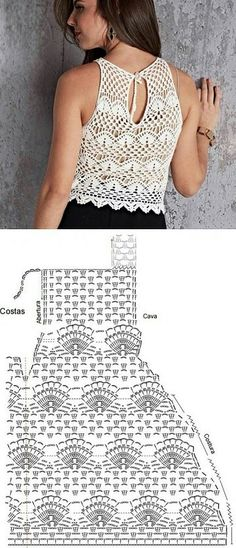 patrones de top a crochet ideas Chunky Crochet Scarf, One Skein Crochet, Crochet Baby Cardigan, Crochet Chart, Crochet Cardigan, Crochet Lace, Crochet Stitches, Crochet Crop Top, Crochet Dolls Free Patterns