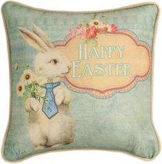 Vintage picture of a white rabbit holding a bouquet of flowers Happy Easter Pillow. Printed polyester fabric accented with decorative piping.  Made in the USA  12""
