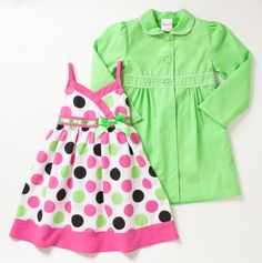 Big Girls' Two Piece Polka Dots Sundress and Trench Coat Set - Girls' Coat Dresses and More - Events