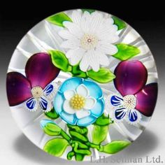 Rare antique Baccarat four flower paperweight