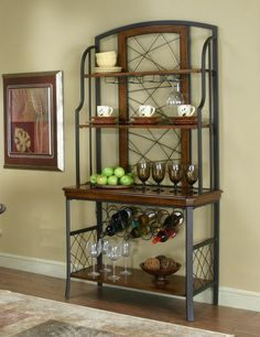 Sleek Designer Bakers Racks Furniture | Fruitwood Black Fleck Bakers Rack  Fruitwood Black Fleck Bakers Rack
