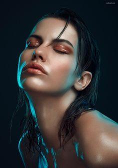 Colour Gel Photography, Studio Portrait Photography, Model Poses Photography, Photography Words, Makeup Photography, Studio Portraits, Female Portrait, Portrait Art, Light Study