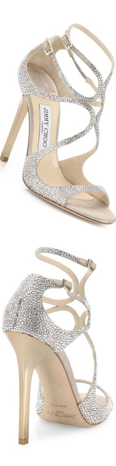 Jimmy Choo Memento Crystalized Suede Strappy Sandals