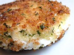 Crispy Fried Goat Cheese  16 oz. goat cheese log  1 cup panko bread crumbs  2 tsp. dried parsley  1 tsp. dried thyme  1/2 tsp. granulated garlic  1/2 tsp. ground white pepper  pinch of kosher salt  2 eggs, beaten  1/2 cup of flour - you can use gluten free flour as well.  olive oil  Chill your cheese