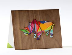 SALE Animal Card, Art Holidays Card, Unique Greeting Card, Rhino Art Card, Greeting Cards With Envelope, Laser Cut Wood, Blank Holiday Card by MardeFe on Etsy