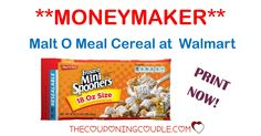THREE FREE BAGS of MALT O MEAL CEREAL plus a MONEYMAKER! Print your coupon now to snag this HOT Walmart deal!  Click the link below to get all of the details ► http://www.thecouponingcouple.com/malt-o-meal-cereal/ #Coupons #Couponing #CouponCommunity  Visit us at http://www.thecouponingcouple.com for more great posts!