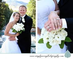Wedding Photo Ideas & Poses - Bride & Groom, white flower bouquet, wedding rings, outdoor setting