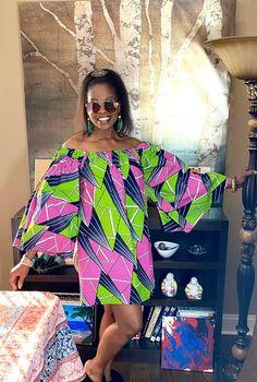 African Dress Short Green Dress for women African Wax Print African Clothing Ankara Summer Dress with Pockets African Alpha Kappa Alpha African Fashion Dresses, African Dress, African Style, Short Green Dress, Short Dresses, Modern Kimono, Summer Outfits, Summer Dresses, Ankara Dress