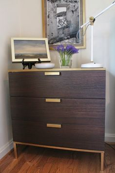 Ikea Hack Gold Spray Paint TRYSIL 3 Drawer chest I'd love to use two of these in our bedroom!
