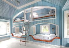 Love this bunk design for a cottage - not just for kids, but adults too! Love the blue paint too!