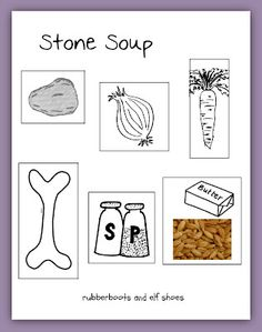 rubberboots and elf shoes: stone soup - the book and the recipe Kindergarten Social Studies, Kindergarten Reading, Preschool Kindergarten, Preschool Food, Preschool Music, Preschool Printables, Preschool Ideas, Fun Fall Activities, Literacy Activities