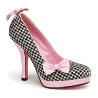 "SECRET-12, 4 1/2"" Heel, 1/2"" Platform Pump in Houndstooth Fabric-Baby Pink Patent"