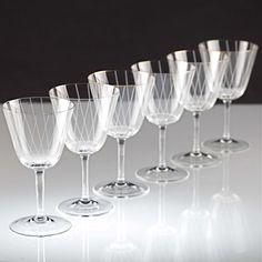 6 Vintage Weingläser Gläser weiß Streifen Goldrand Poschinger ? Brillant W6D