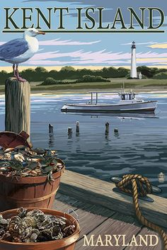 Kent Island, Maryland - Blue Crab and Oysters on Dock - Lantern Press Poster
