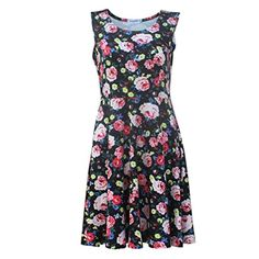 Womens Fit Flare Floral Dress, Misaky Printing Sleeveless Swing Mini Club Dress (XL, Black) - Brought to you by Avarsha.com
