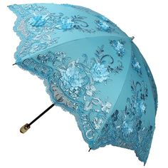 Sunny World Ladies UV Protected Parasol Two Folding Anti-UV Sun Umbrella Fashion Lace Embroidery 3D Flowers (Blue)