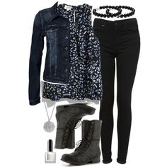 """""""Allison Inspired Outfit with a Dark Denim Jacket"""" by veterization on Polyvore"""