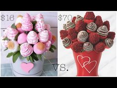 Showing you how to make chocolate covered strawberries arrangements like the ones sold by edible arrangements. They're perfect for valentines day and Im show. Chocolate Diy, How To Make Chocolate, Chocolate Dipped, Diy Gifts For Mothers, Strawberry Decorations, Pink And White Weddings, Coffee And Cigarettes, Edible Arrangements, Dessert Decoration
