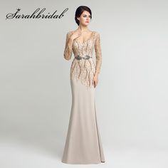Mermaid Mother of the Bride Dresses Sheer Long Sleeves 2017 Sexy Backless Beading Sash Floor Length Chiffon Evening Gown LX277