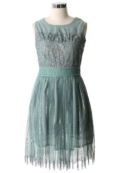 Green Tulle Sequins Dress - New Arrivals - Retro, Indie and Unique Fashion