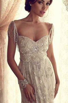 Roman lace with pearls beige gown