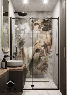 Projekt niewielkiej łazienki w którym głównym elementem jest tapeta inspirowana malarstwem Rubensa.