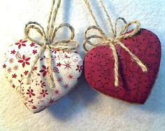 Cranberry Heart Ornaments, Party Favor, Home Decor, Valentines Day Decor, Holidays, Wedding Bridal, Tree Ornament, Set/2, Reversible, #1