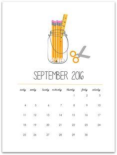 September Mason Jar Calendar Page - Mason Jar Crafts Love
