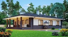 The project of a beautiful house with a terrace. The project of a beautiful one-story house with a terrace Visualization Shop-project Modern Family House, Modern Bungalow House, Bungalow House Plans, Ranch House Plans, Modern House Design, Ranch Exterior, Interior Exterior, House Layout Plans, House Layouts