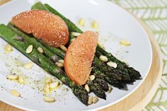 A quick and easy recipe for roasted asparagus. They make a beautiful and intensely flavorful starter.