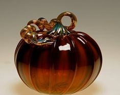 Large Handmade Gold Brown Pumpkin-Transparent Made in Corning, NY Steuben County Halloween Home Decor, Halloween House, Halloween Pumpkins, Corning Museum Of Glass, Glass Pumpkins, Decorative Items, Glass Art, Christmas Bulbs, Unique Gifts