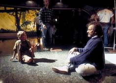 Steven Spielberg on the set with Joseph Mazzello, who plays Tim in 'Jurassic Park.'
