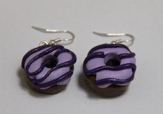 Purple Donut Earrings Handmade Polymer Clay Donut by PurpleCatShop