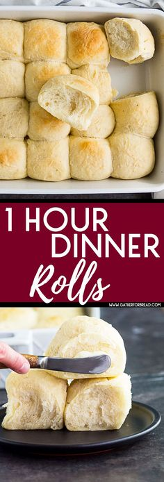1 Hour Dinner Rolls - BEST Easy homemade soft dinner rolls made in 1 hour. Made from scratch and perfect with soup and salad for dinner!