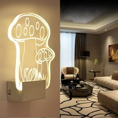 57.98$  Buy here - http://alitu6.worldwells.pw/go.php?t=32790192088 - LED creative acrylic wall mushroom modern minimalist study room aisle acrylic lamp bedside lamp 57.98$