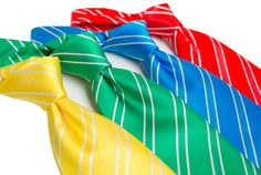 Contemporary Repp-Stripe Ties in Bright Colors - a modern take on the classic tie pattern