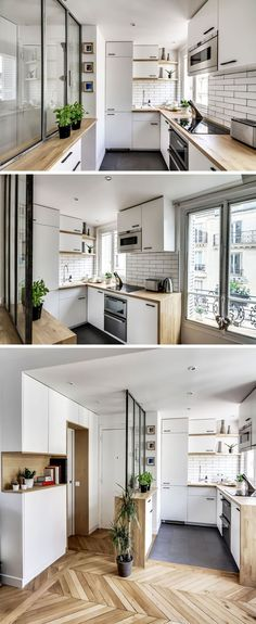 Kitchen Design Ideas - 14 Kitchens That Make The Most Of A Small Space // This mostly-white kitchen has wooden shelves and countertops to break up the cabinetry. Angular open shelves have been used by the window so they don't block the natural light.